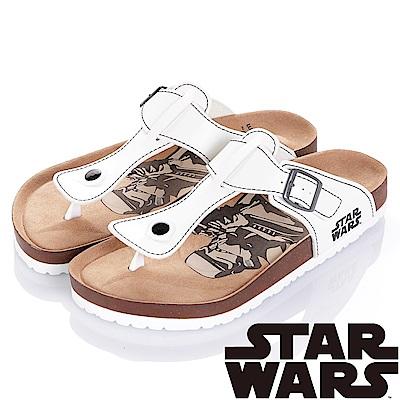 (雙11)StarWars 星際大戰-白兵 減壓腳床型夾腳拖鞋-白