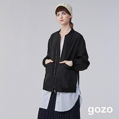 gozo 條紋襯衫拼接假兩件外套(黑色)