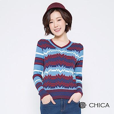 CHICA 幾何藝術拼接條紋V領針織衫(2色)