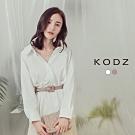 東京著衣-KODZ 隨性慵懶V領排釦收腰襯衫-S.M.L(共二色)