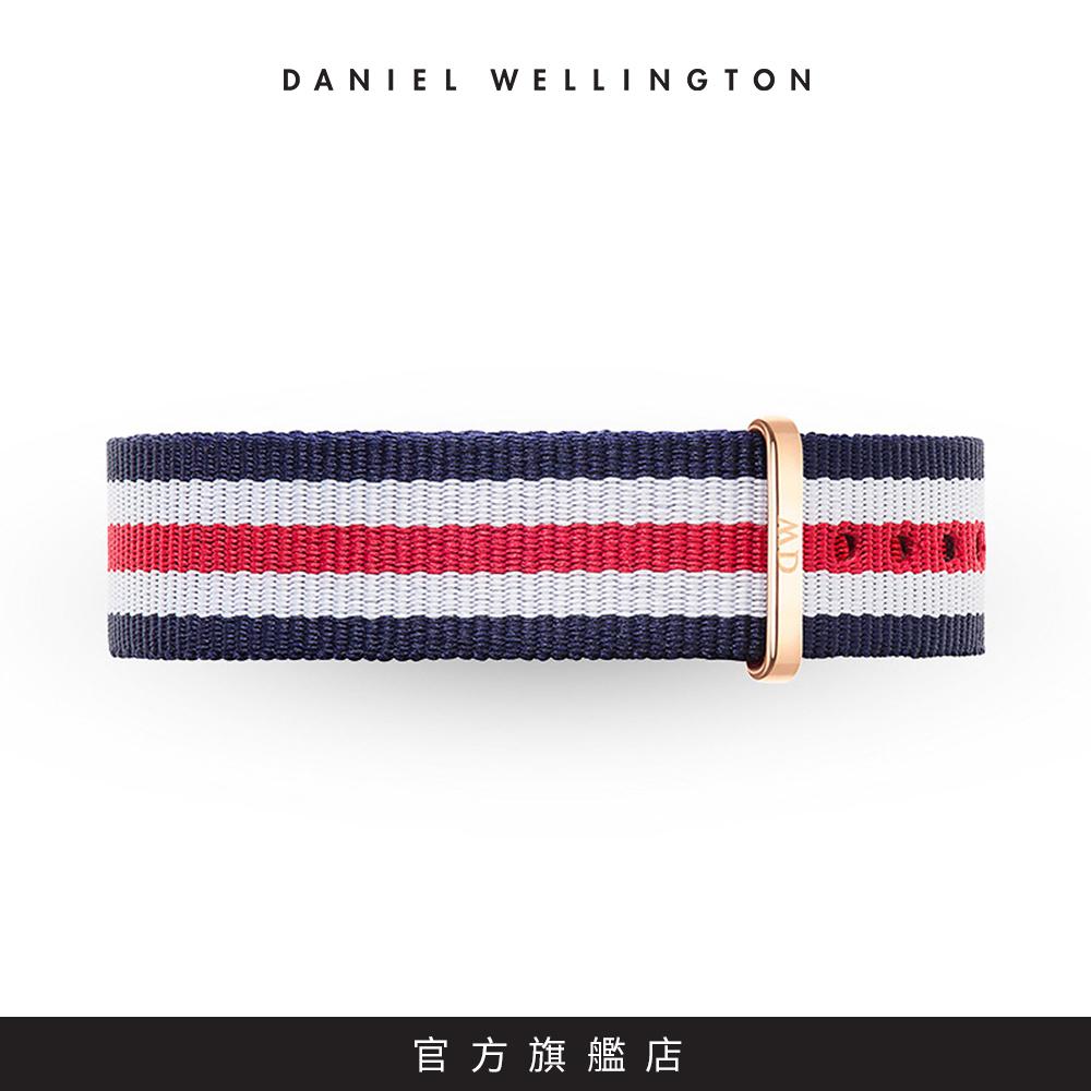 DW 錶帶 18mm金扣 經典藍紅織紋錶帶
