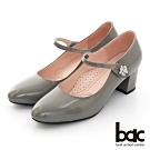 【bac】復古風潮花朵鑽飾瑪莉珍粗跟高跟鞋-灰色