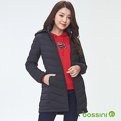 bossini女裝-連帽彈性無縫羽絨外套黑