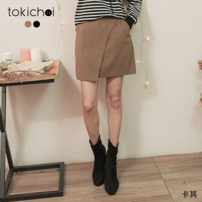 東京著衣 休閒甜美假一片式卡其短裙-S.M.L