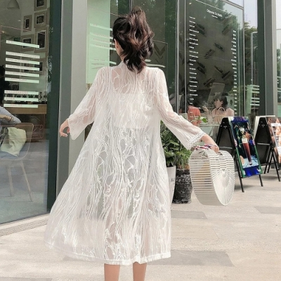 氣質不規格條紋蕾絲開衫中長款網紗防曬衣外套F-維拉森林