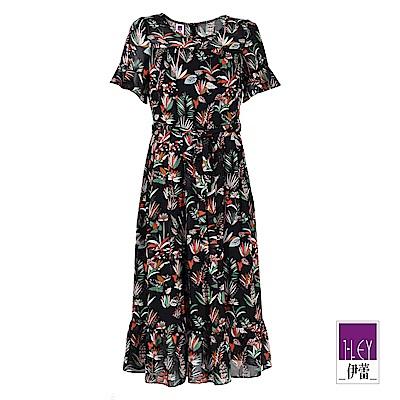 ILEY伊蕾 熱帶花朵荷葉五分袖綁帶洋裝(黑)