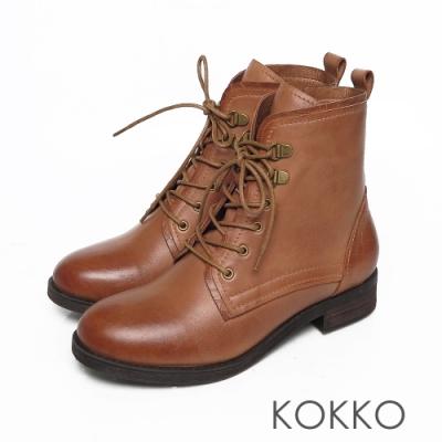 KOKKO微醺雙擦色綁帶小牛皮粗跟馬汀短靴咖啡色