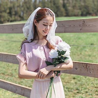 珍珠綴飾網紗拼接袖純色打褶寬版上衣-OB大尺碼