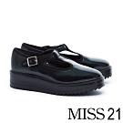 厚底鞋 MISS 21 復古個性T字寬帶方釦瑪莉珍厚底鞋-綠