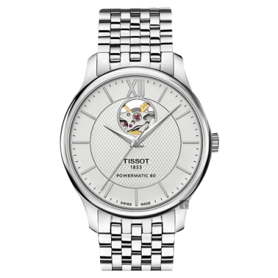 TISSOT 天梭 Tradition 80小時動力鏤空機械腕錶-銀/40mm T0639071103800
