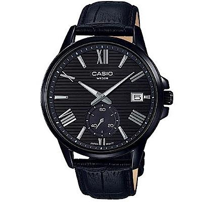 CASIO簡約橫條紋時尚羅馬風格皮帶腕錶(MTP-EX100BL-1)/43.8mm