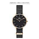 DW 手錶 官方旗艦店 28mm玫瑰金框 Petite 寂靜黑織紋錶