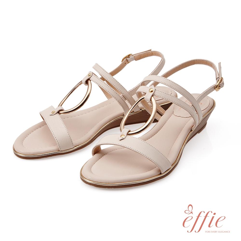 effie 簡意時尚-簡約金屬環釦低跟楔型涼鞋-米