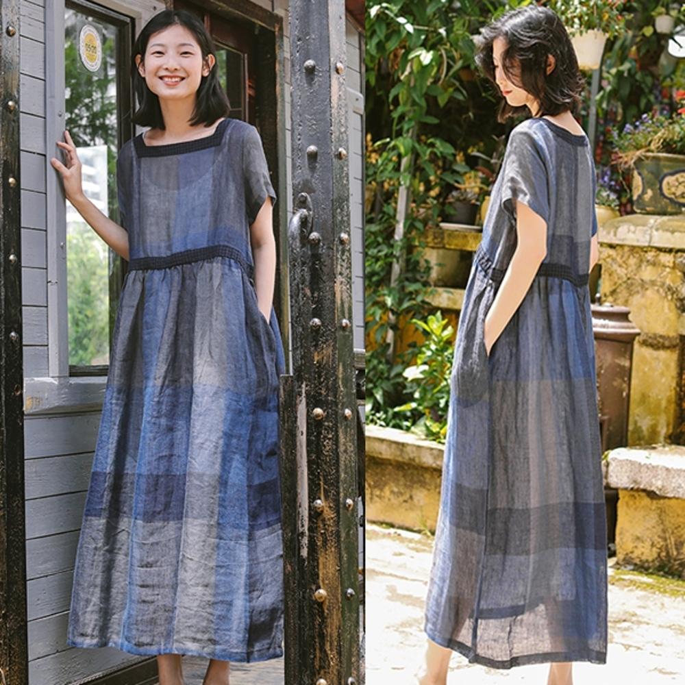 洋裝-純亞麻色織工藝方領復古格子長裙-設計所在