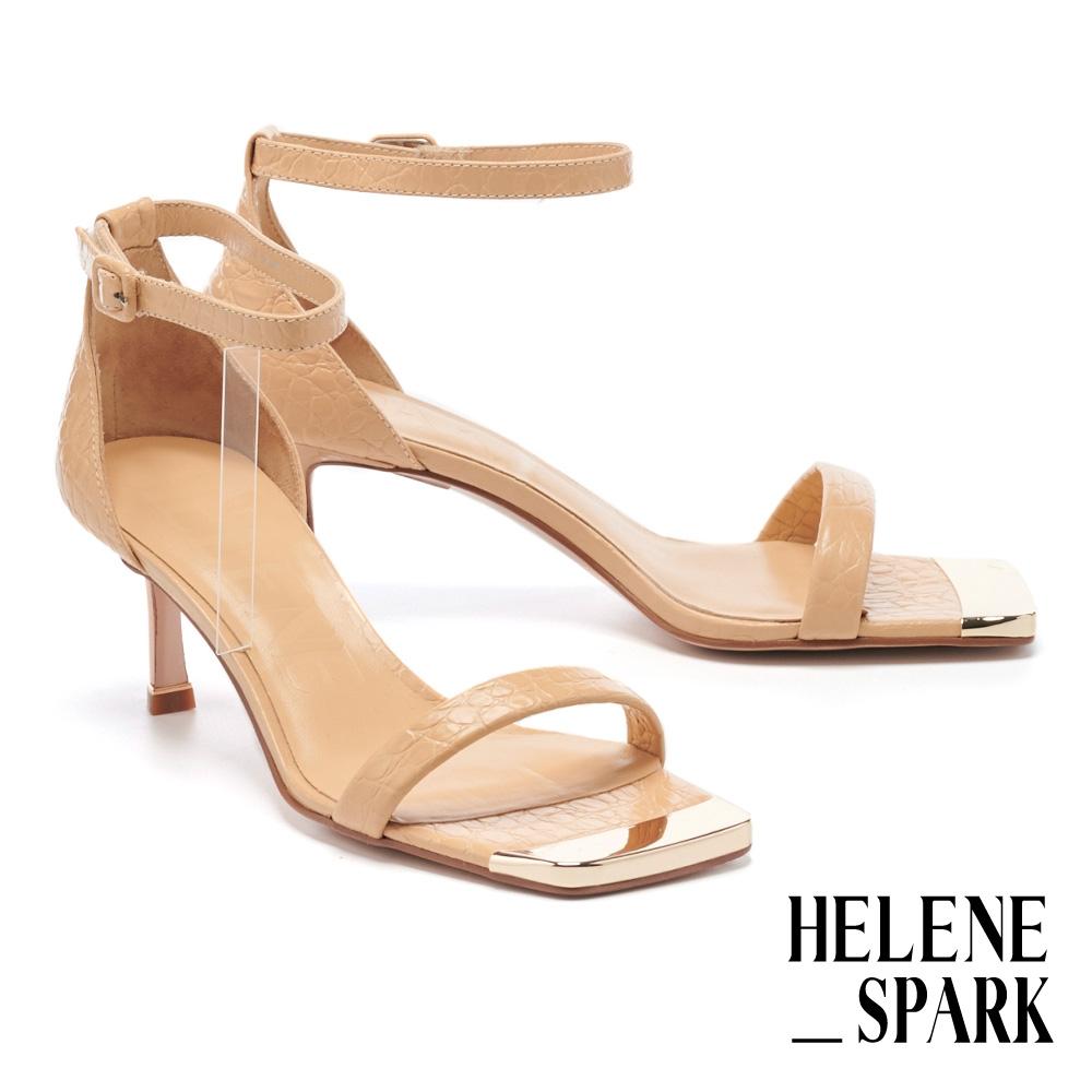 涼鞋 HELENE SPARK 現代美學一字繫帶全真皮金屬方頭高跟涼鞋-米