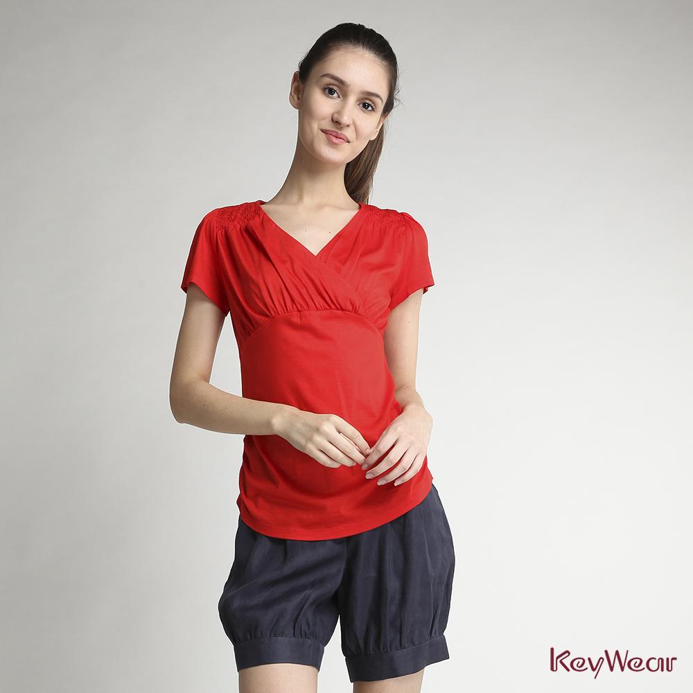 KeyWear奇威名品    抓皺設計素面款短袖上衣-橘紅色