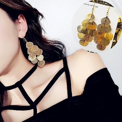 梨花HaNA 細緻秋葉金屬葉片垂飾耳環金色