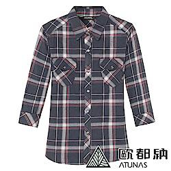 【ATUNAS 歐都納】女吸溼排汗保暖彈性七分袖襯衫A-S1112W黑紅格