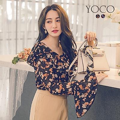 東京著衣-yoco 韓國姐姐層次荷葉印花上衣-S.M.L.XL(共二色)