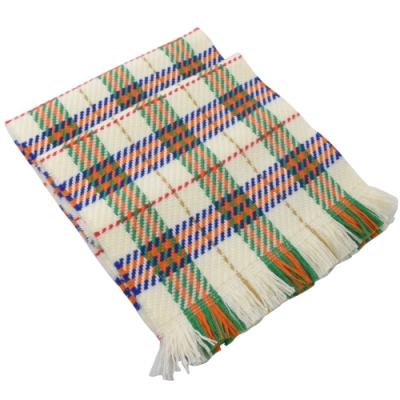 BURBERRY 經典格紋針織流蘇長型羊毛圍巾(白)