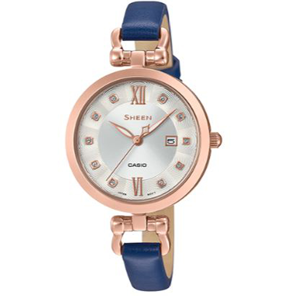 SHEEN 細緻婉約水晶點綴蜜香檳金皮帶腕錶(SHE-4055PGL-7A)藍/37mm @ Y!購物