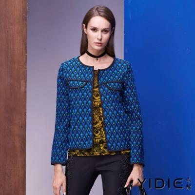 【YIDIE衣蝶】幾何圖口袋織紋短版外套
