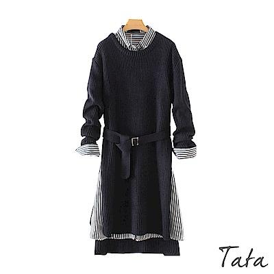 兩件式條紋襯衫開叉洋裝(附腰帶) TATA