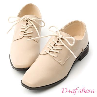 D+AF 紳士品味.小方頭綁帶低跟牛津鞋*杏