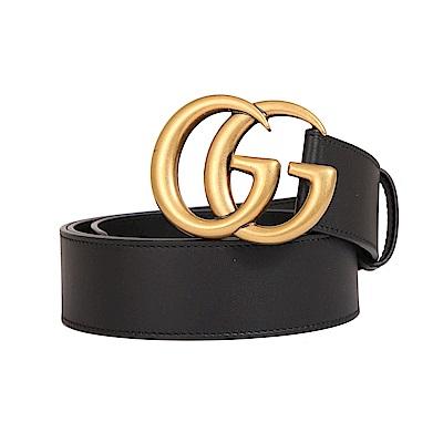 GUCCI Marmont復古雙G金屬LOGO細皮釦環皮帶(黑色)