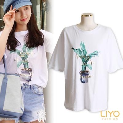 上衣-LIYO理優-手繪風植栽印花寬鬆休閒顯瘦透氣T恤
