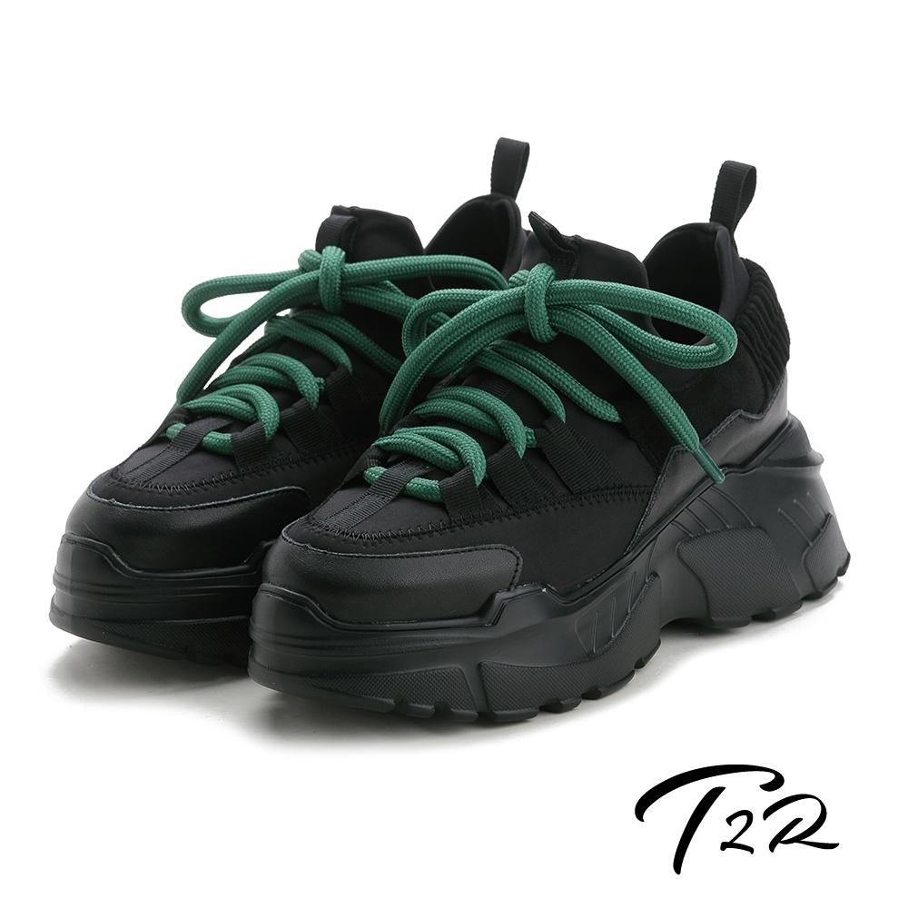 T2R-正韓空運-透氣牛皮網布隱形內增高厚底老爹鞋-增高9公分-黑