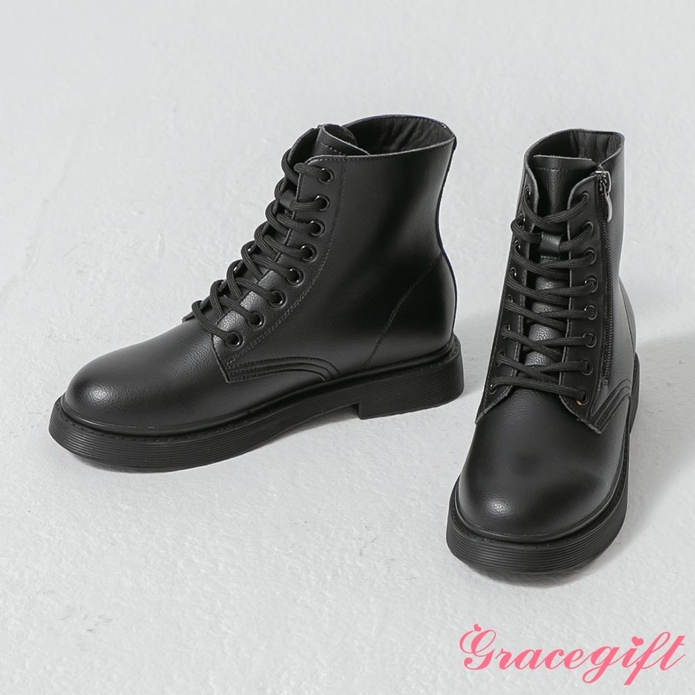 Grace gift-韓系率性皮革綁帶靴 黑