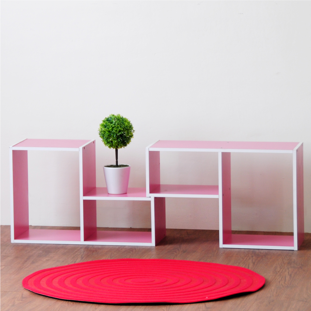《HOPMA》DIY巧收漾彩L型百變收納櫃-1箱2入-寬54 x深23 x高36cm product image 1