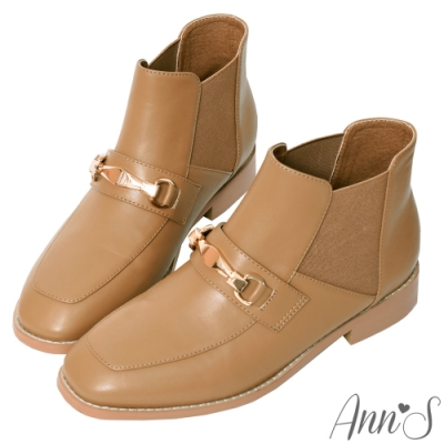 Ann'S訂製金釦彈力鬆緊切爾西平底短靴-杏(版型偏小)