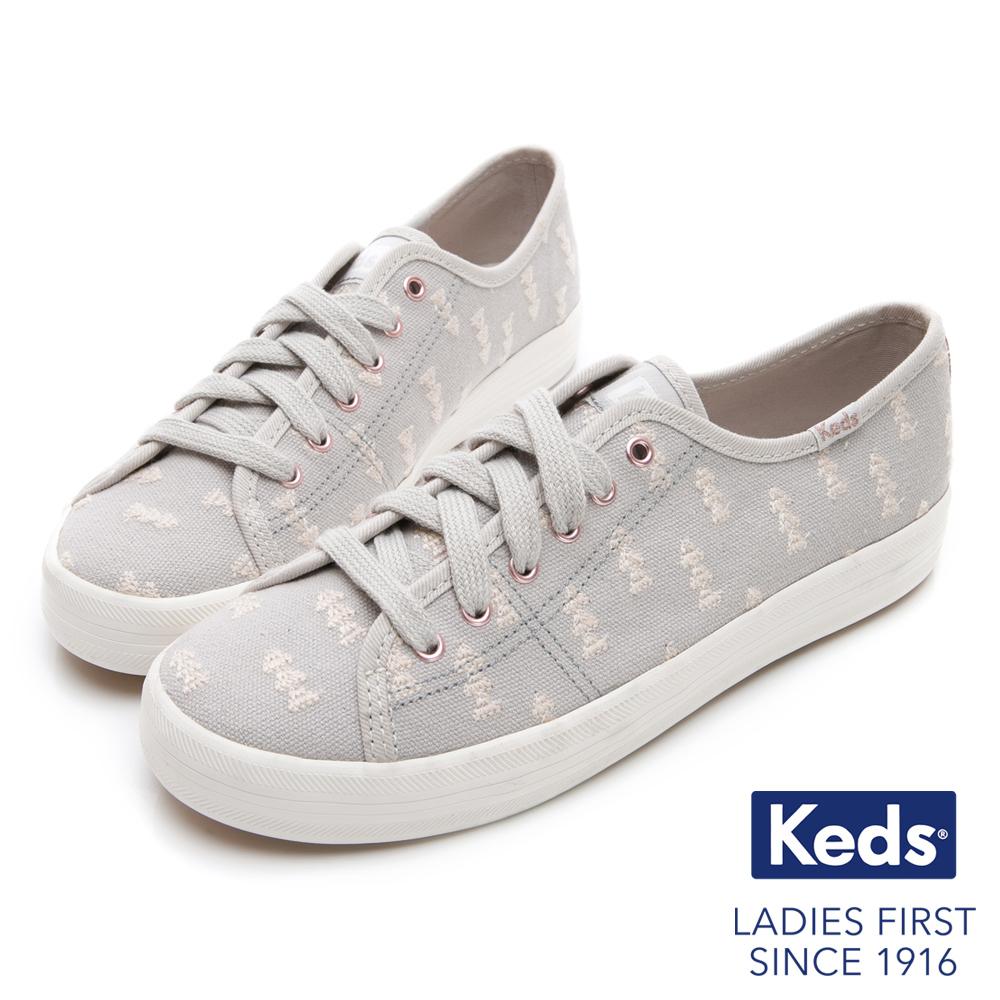 Keds KICKSTART 森林刺繡綁帶休閒鞋-淺灰色