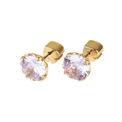 kate spade The Sparkle黑桃LOGO圓形設計鑽鑲飾穿式耳環(金x紫)