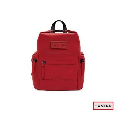 HUNTER - 上方開扣橡膠塗層皮革迷你後背包 - 紅