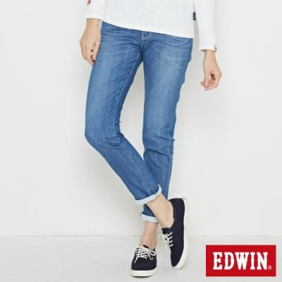EDWIN EDGE LINE COOL 涼感 窄直筒牛仔褲-女-石洗藍