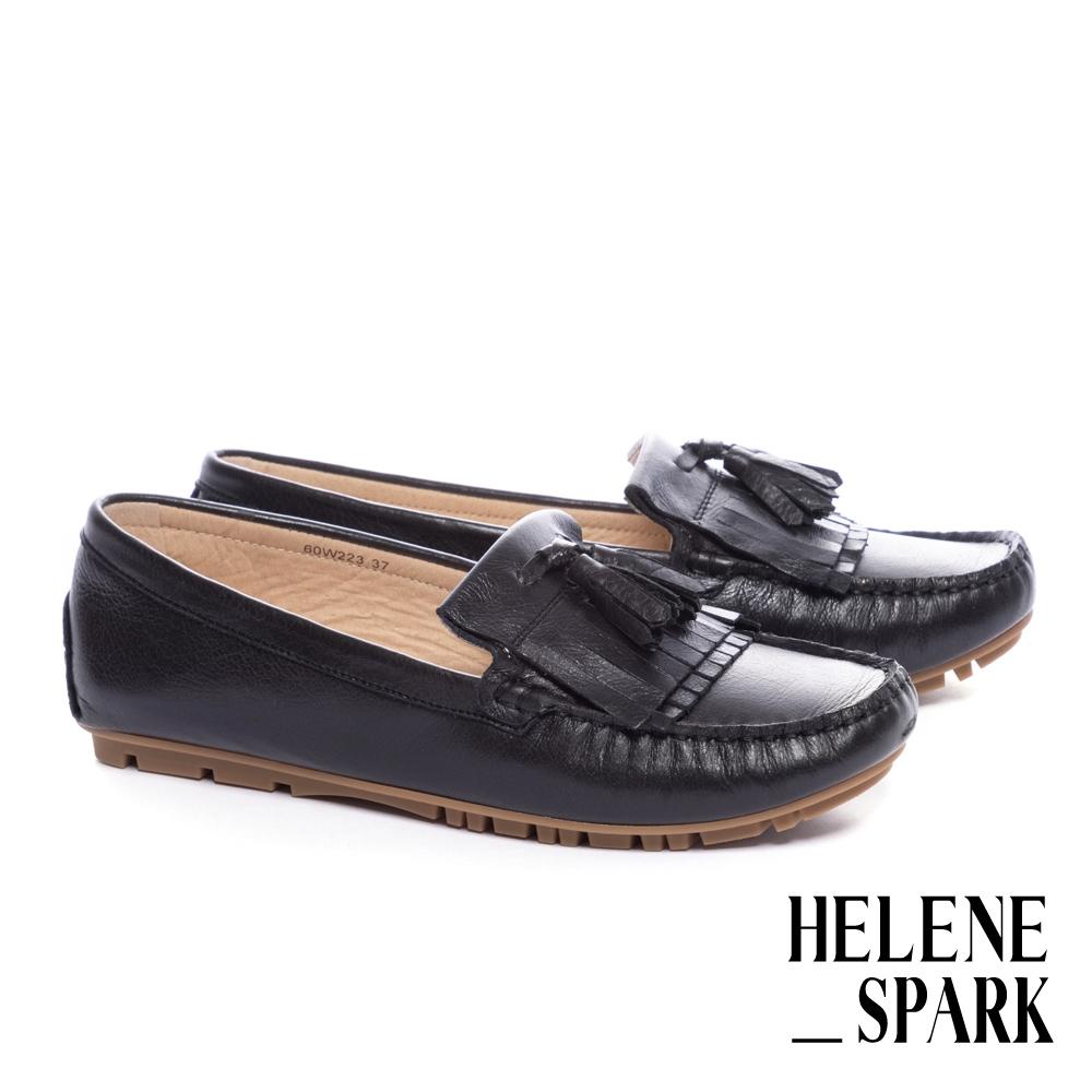 平底鞋 HELENE SPARK 日常舒適流蘇全真皮莫卡辛平底鞋-黑