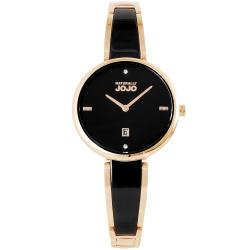 NATURALLY JOJO 質感晶鑽陶瓷手錶-黑X玫瑰金/30mm