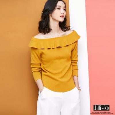 JILLI-KO 荷葉領氣質針織上衣- 薑黃