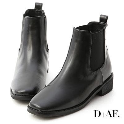 D+AF 率性指標.方頭低跟切爾西短靴*黑