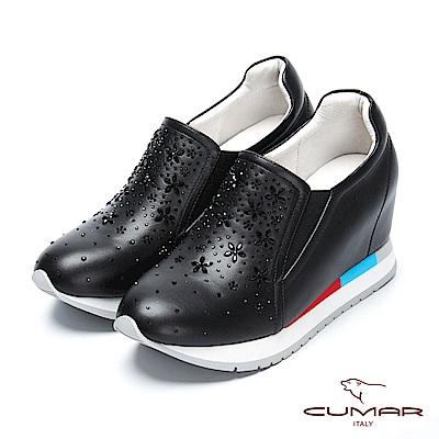 CUMAR簡約步調 - 花卉水鑽裝飾內增高厚底休閒鞋