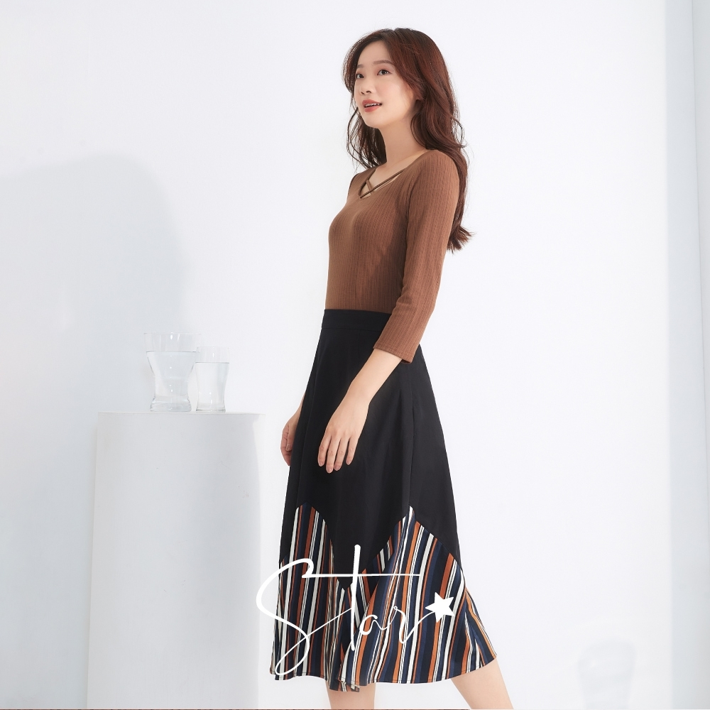 SO NICE休閒拼接撞色直紋造型長裙