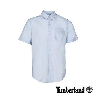 Timberland 男款天際藍純棉牛津短袖襯衫 A1VYD
