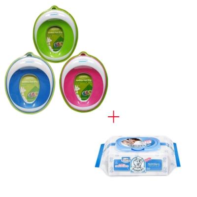 baby hood兒童輔助座便圈(綠色/桃紅/藍)+貝恩嬰兒保養柔濕巾80抽1入
