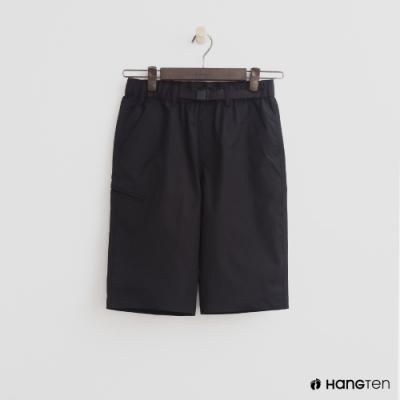 Hang Ten- 青少童裝-棉質素色休閒短褲-黑