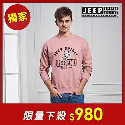JEEP 森林冒險立體刺繡長袖TEE-男女適穿 -粉色