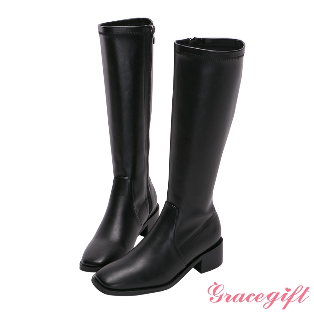 Grace gift-ETUDE leather shop-率性素面低跟長靴 黑