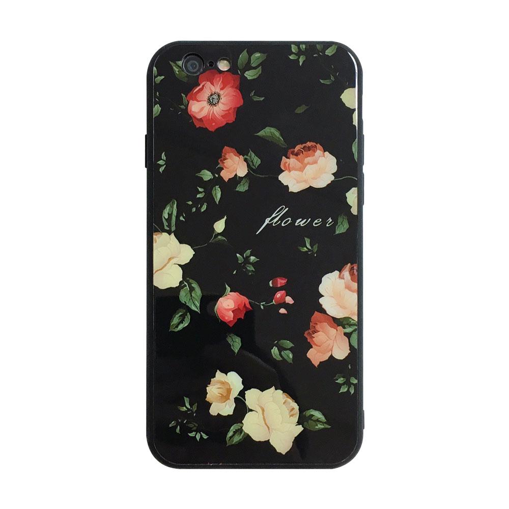 【TOYSELECT】iPhone 6/6s 黑底玫瑰文藝 9H抗刮玻璃手機殼